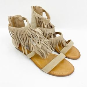 Madden Girl Tan Fringe Flat Sandals 7.5